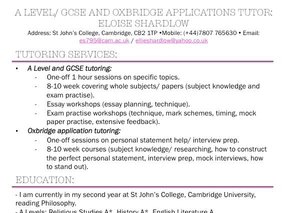 A Level/ Oxbridge Application Tutoring Service