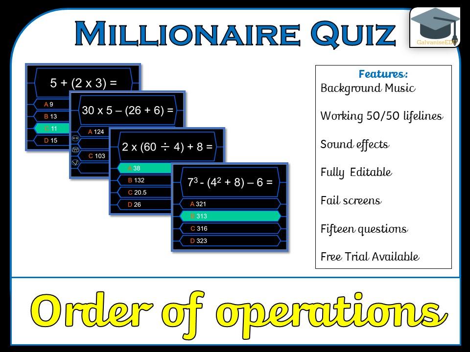 Millionaire Quiz! (Order of Operations/BIDMAS/BODMAS Edition)