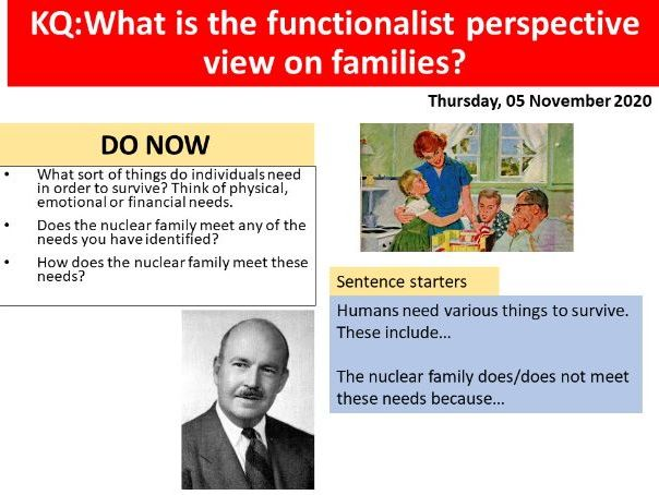 GCSE Sociology Families - L3. Functionalism & Family