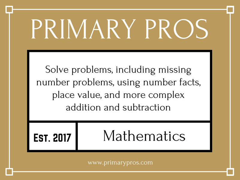 Solve problems, including missing number problems, using number facts, place value, and more complex