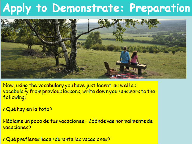 KS3 Spanish Holidays Present Tense Revision What I like to do on holidays