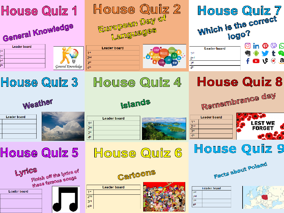 Tutor time quiz x 33 - 20 minute quizzes - Perfect for a morning registration.