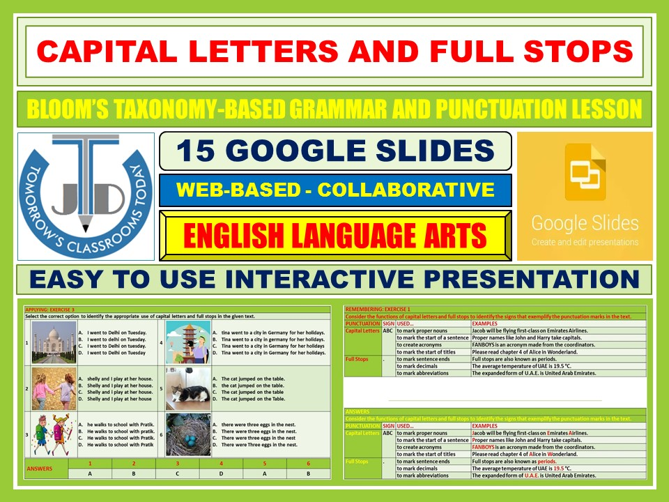 CAPITAL LETTERS AND FULL STOPS - PUNCTUATION: 15 GOOGLE SLIDES