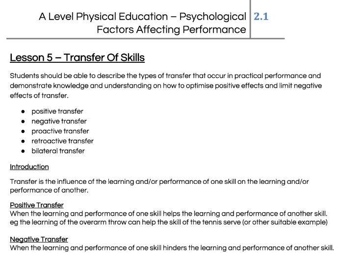 Skill Acquisition - Transfer Of Skills