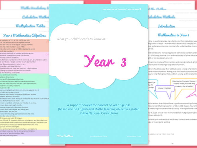 Year 3 Parent Support Booklet - Maths
