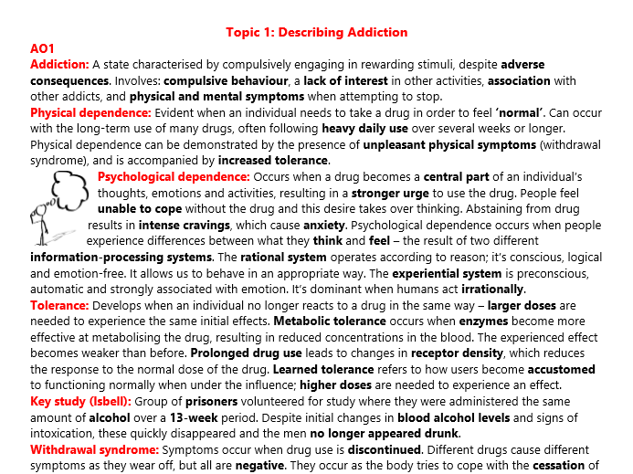 Addiction Revision (A2 Psychology)