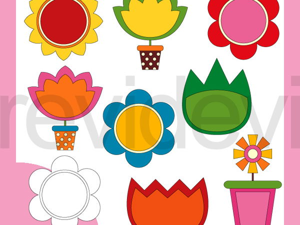 Simple Spring Flower Clip Art - Bright colors clipart