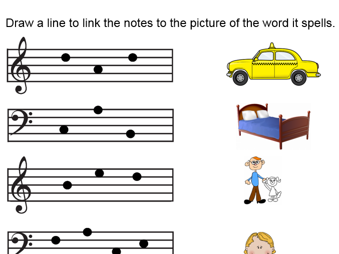 Reading note names Treble and Bass clef - Picture matching - worksheet