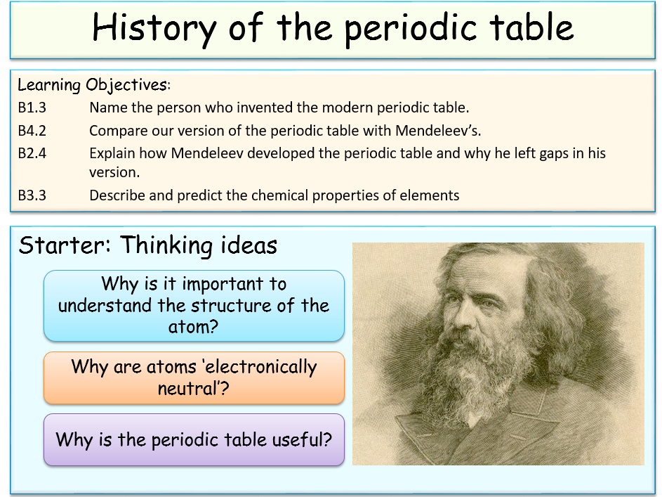 history of the periodic table Ta secondary school revision resource for edexcel gcse science about the  periodic table.