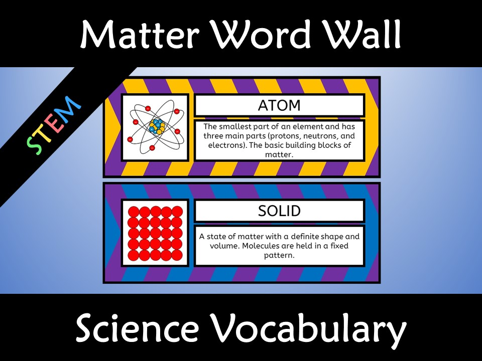 Matter Science Word Wall Poster and Anchor Charts