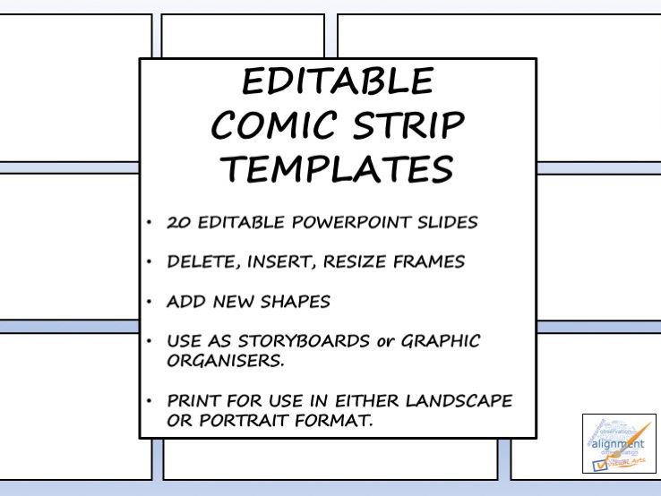 Editable Comic Strip Templates By Ticktheartbox  Teaching Resources