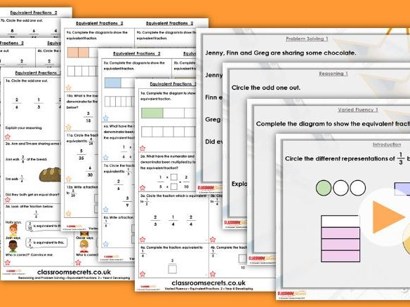 Year 4 Equivalent Fractions 2 Spring Block 3 Step  Lesson Pack