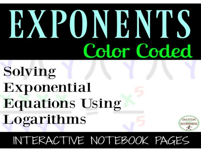 Solving Exponential Equations By Using Logarithms Interactive Notebook Foldable