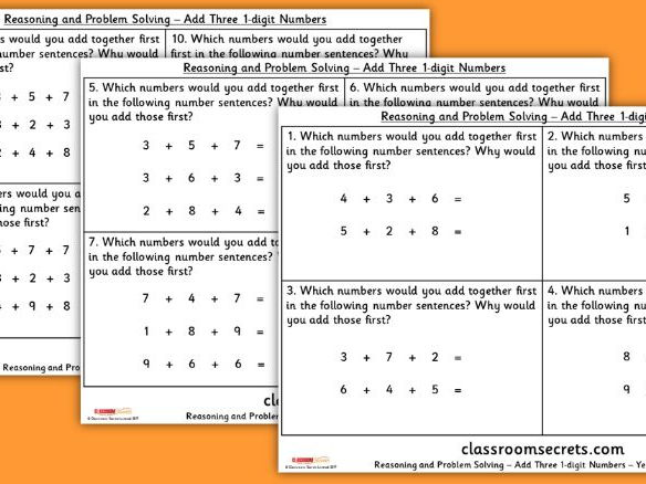 Year 2 Add Three 1 Digit Numbers Addition and Subtraction WRM Reasoning and Problem Solving Pack