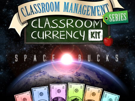 Classroom Currency Kit: Space Bucks (Quid) 1, 5, 10, 20, 50, and 100 marked notes