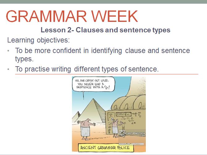 Grammar Week- 4 lessons on grammar