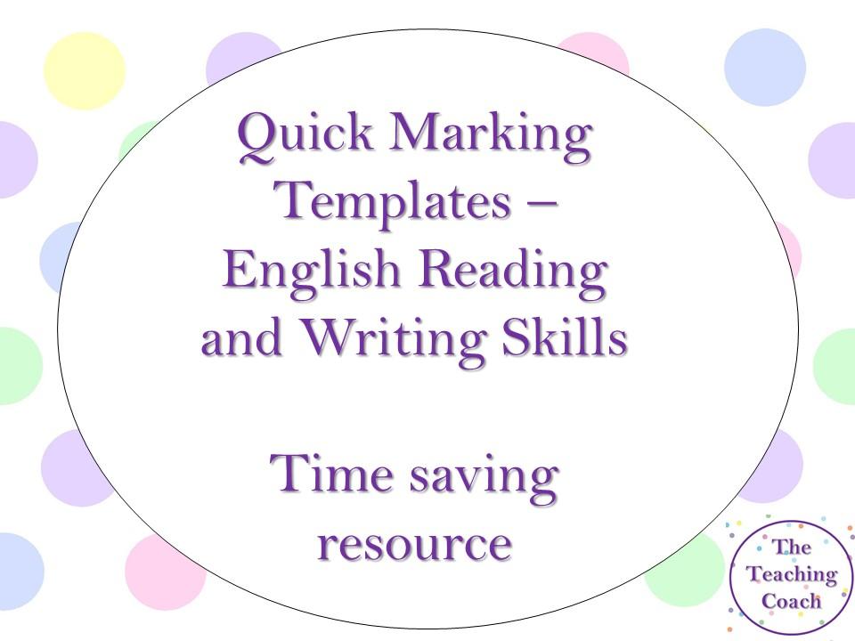Reading and Writing Quick Marking Sheets - English - Time Saving Resource - EBI / WWW