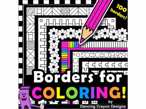 Borders for Coloring: 100 Black and White Borders and Frames Clip Art