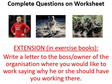 **COMPLETE BUSINESS LESSON: Recruitment (INC PPT,  ASSESSMENT, DIRT SHEET)**