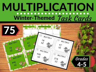 Winter Math Task Cards-Multiplication of Two- and Three-Digit Numbers with Regrouping of Ones Place
