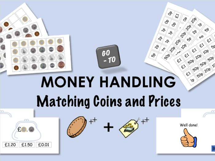 Money Handling - Matching Coins and Prices.  + Sets of Money Dominoes