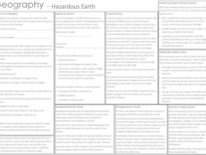 Geography B Edexcel 9-1  -  Hazardous Earth