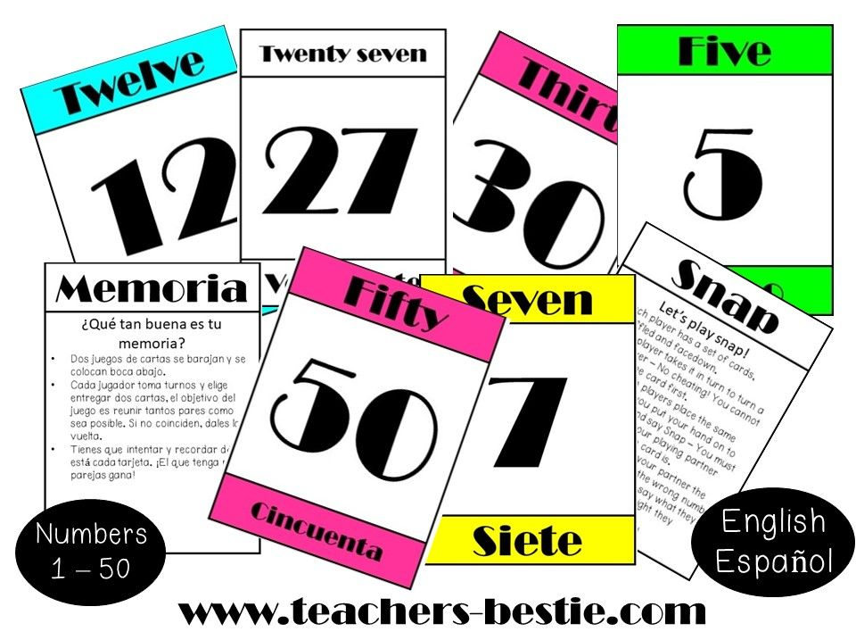 NUMBER CARDS – 1 TO 50 – ENGLISH AND SPANISH
