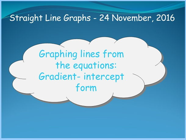 Graphs of straight lines from equations