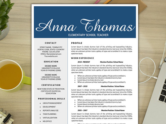 Teacher Resume Template Kindergarten Curriculum Creative Resumes Teaching Resources