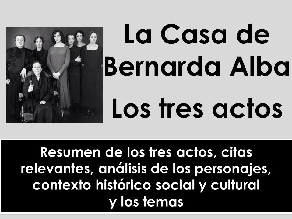 A-level Spanish: La Casa de Bernarda Alba - Análisis de los tres actos, citas, personajes, contexto y temas