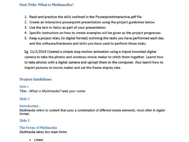What is Multimedia? - Introductory Unit for Industrial Technology - Multimedia Industries