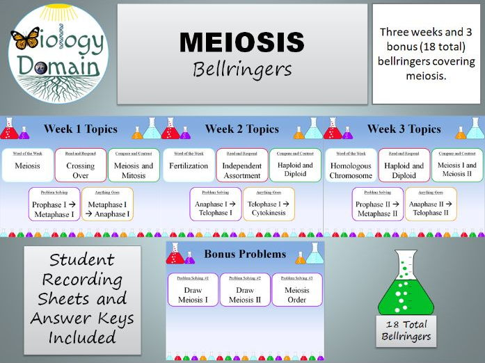 Three weeks of Meiosis Bellringers Warm Ups with Answer Key