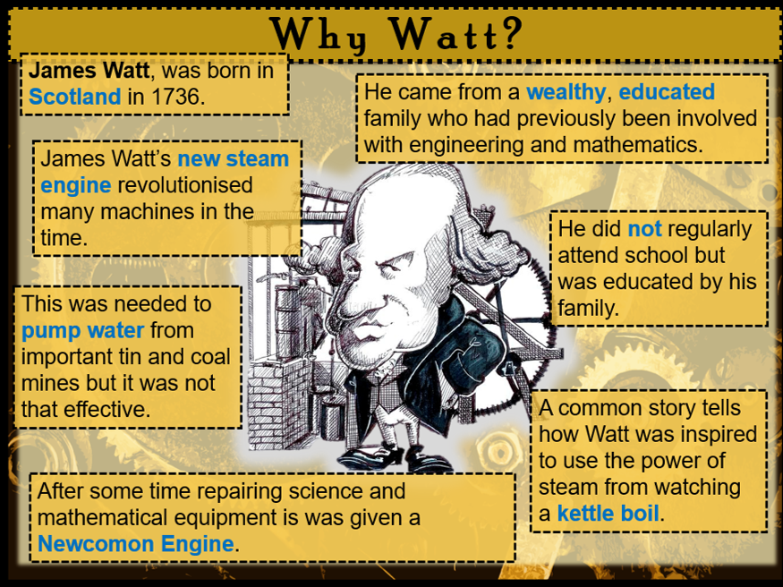 KS3 The Industrial Revolution: The importance of James Watt to the Industrial Revolution