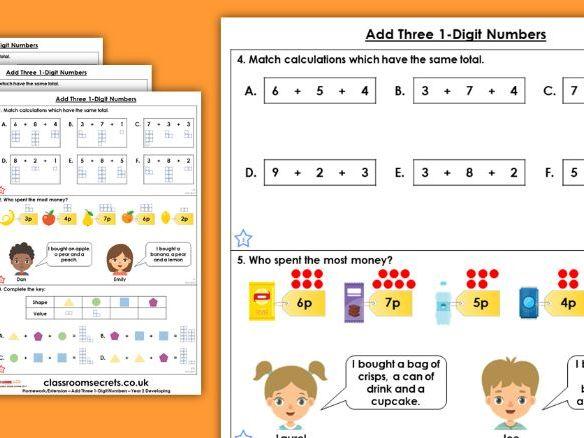 Year 2 Add Three 1-Digit Numbers Autumn Block 2 Maths Homework Extension
