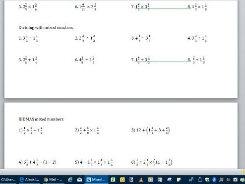 Mixed number calculations