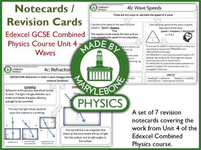 Edexcel GCSE 9-1 Combined Physics P4 Waves Notecards (Revision Cards)