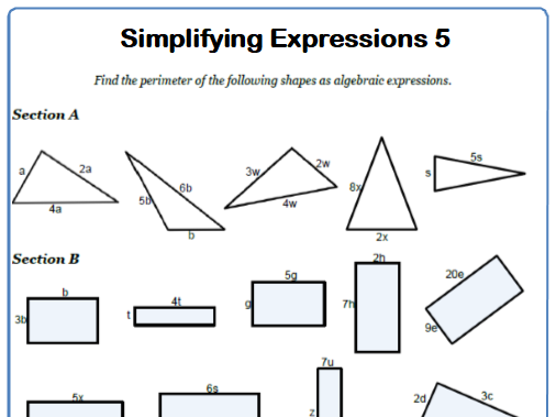 Simplifying Expressions Maths Worksheet 5