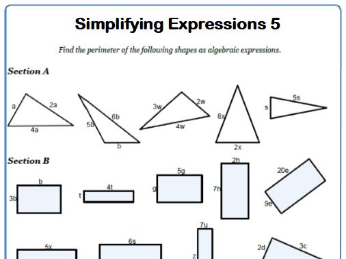 Simplifying Expressions Maths Worksheet 5