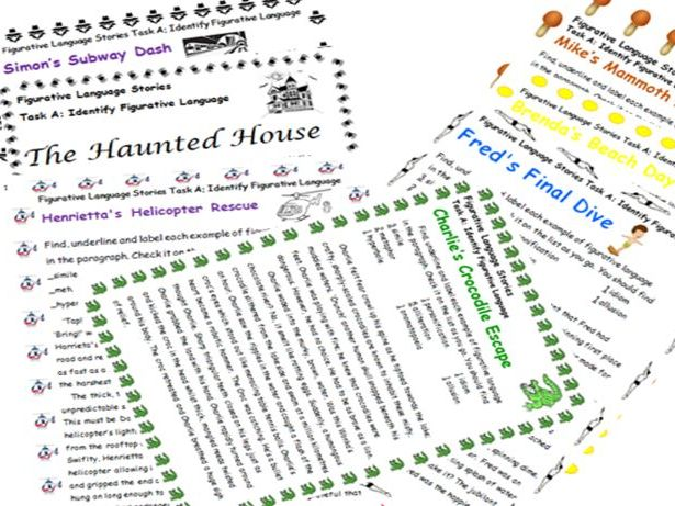 7 Fantastic Figurative Language Stories ~ Close Reading for  school Years 4-9 (9-14 years)