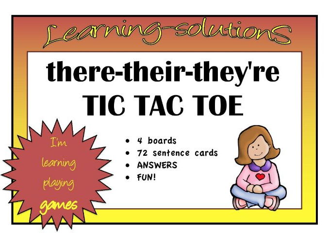 HOMOPHONES - there-their-they're TIC TAC TOE GAME - 4 boards - 72 sentences with answers
