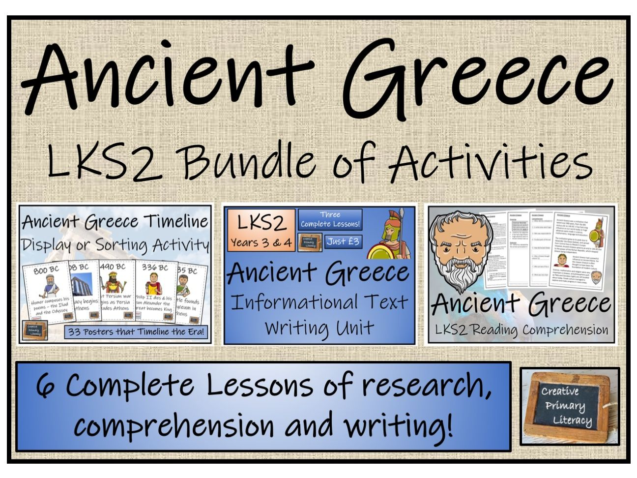 LKS2 Ancient Greece - Display, Research, Reading Comprehension & Writing Bundle