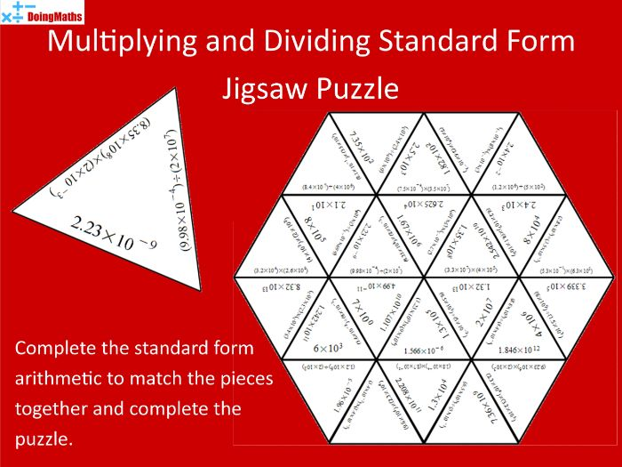 Multiplying and Dividing Standard Form Tarsia Jigsaw Puzzle