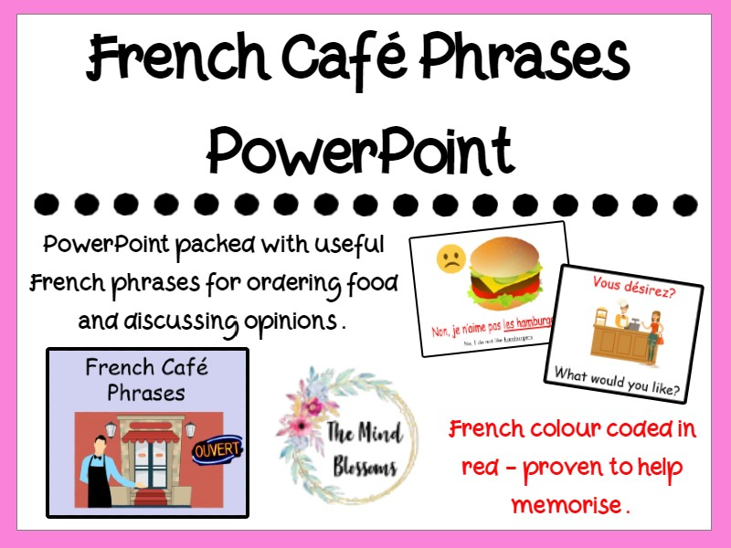French Café Phrases Vocabulary PowerPoint
