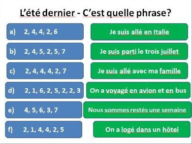 Puzzles and activities about L'été dernier - practising perfect tense and holiday related vocabulary