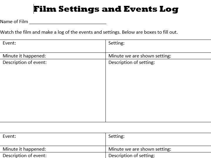 Film Setting and Events Log