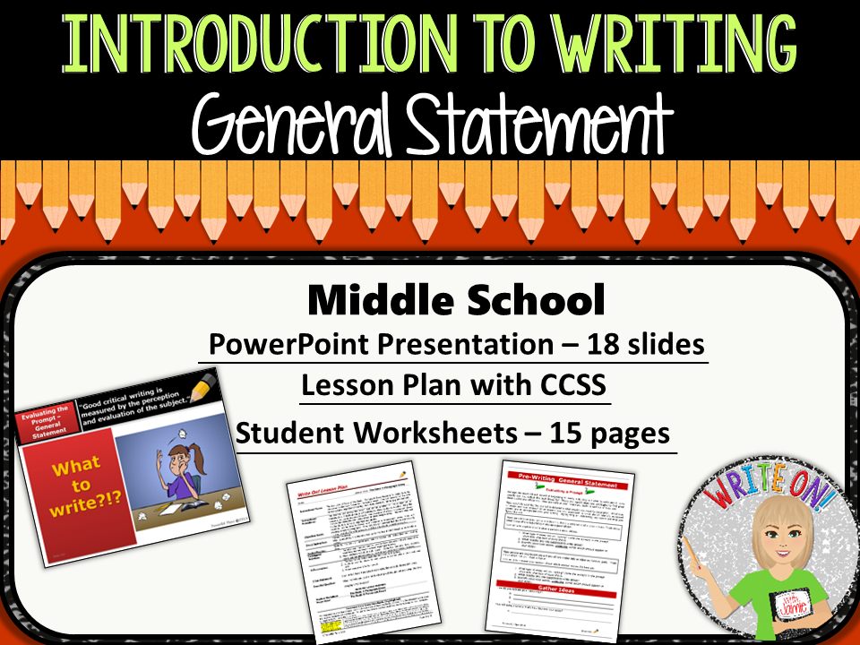 thesis lesson plan middle school Introduction to writing - thesis statement - middle school from write on on • common core state standards indicated on lesson plan • instructional.