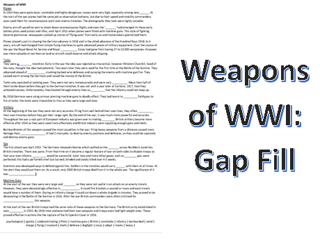 Weapons of WWI: Gap Fill Activity