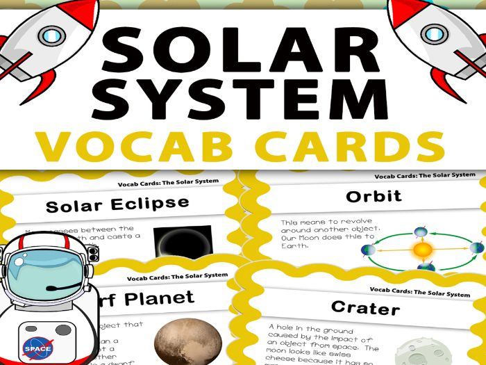 The Solar System Vocabulary Cards / Word Wall