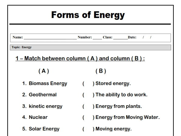 "Forms of Energy "" Matching worksheet"""