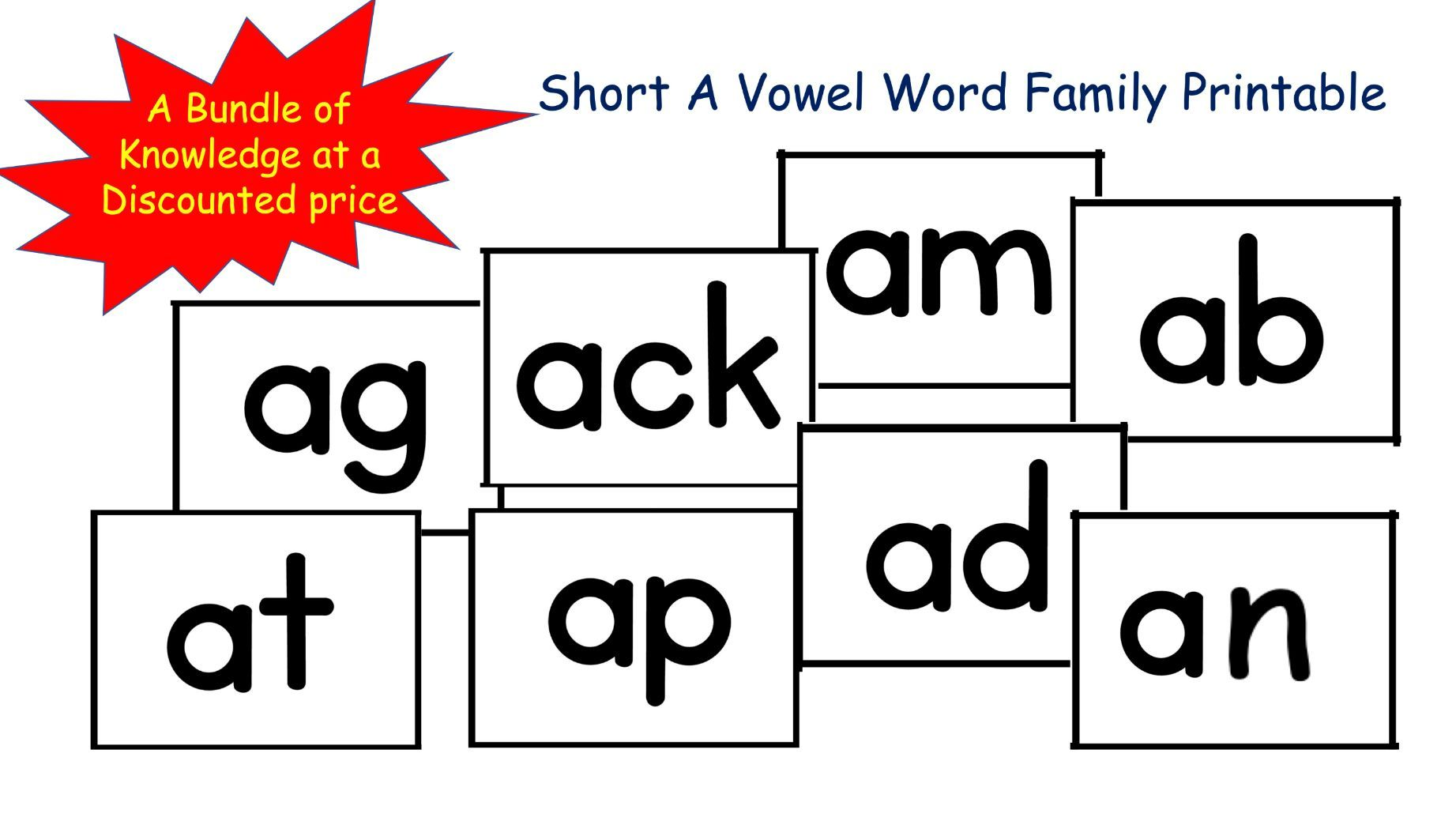 Phonics Short A Vowel Family Words (-ab, -ad, -ag, -am, -an,  -ap, -at, -ack)